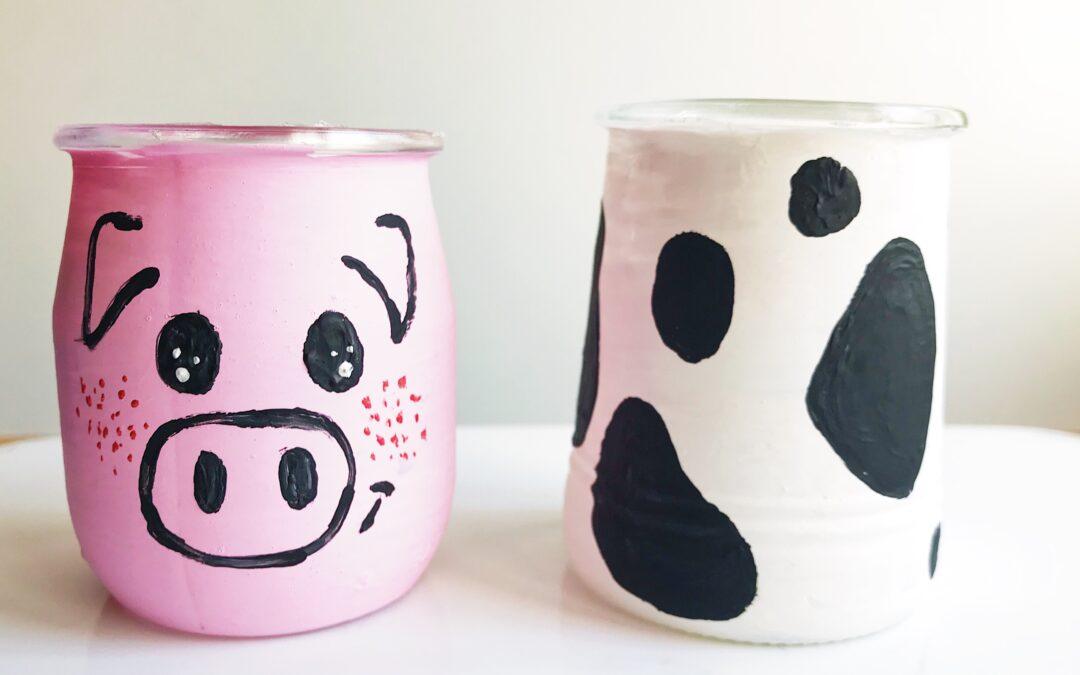 Søde grise og ko glas til dit Farm Party